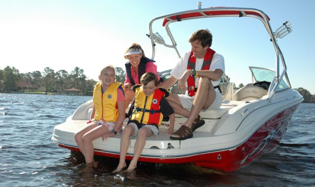 Boating with family