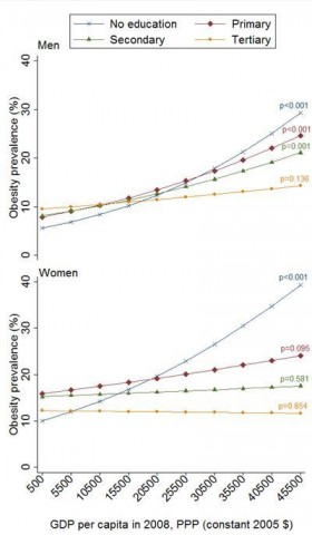 More obesity among the less educated in rich countries