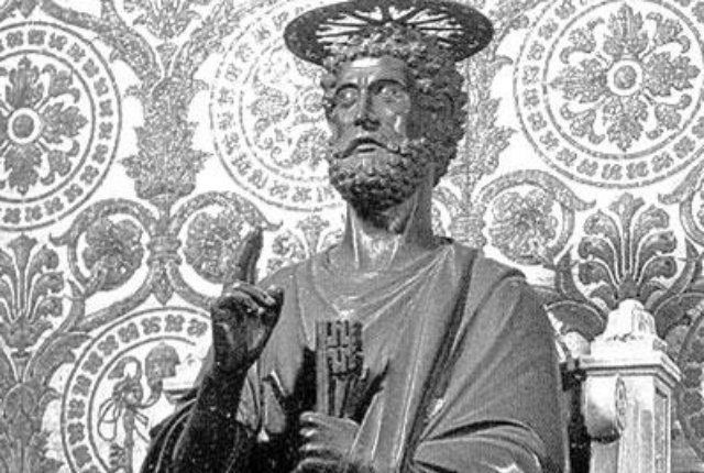This is a statue of St. Peter, St. Peter's Basilica 14th C. Credit: NYIT