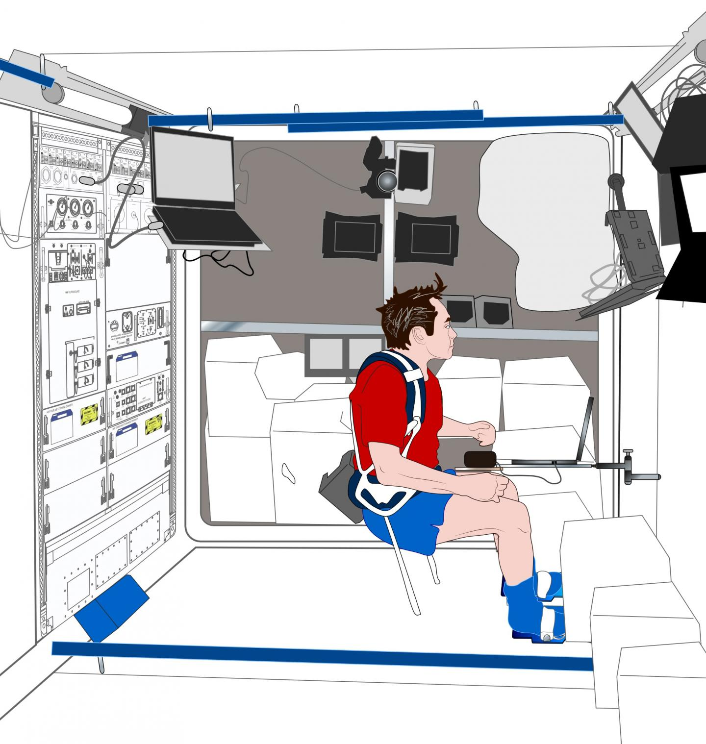 This illustration shows the configuration for conducting neurocognitive assessments for the Neuromapping study aboard the International Space Station. Credit: Credits: NASA