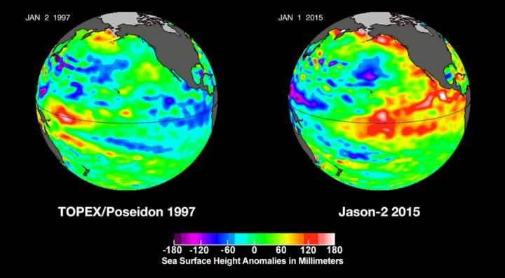 This visualization shows side by side comparisons of Pacific Ocean sea surface height anomalies of what is presently happening in 2015 with the Pacific Ocean signal during the famous 1997 phenomenon Credit: Credits: NASA's Jet Propulsion Laboratory