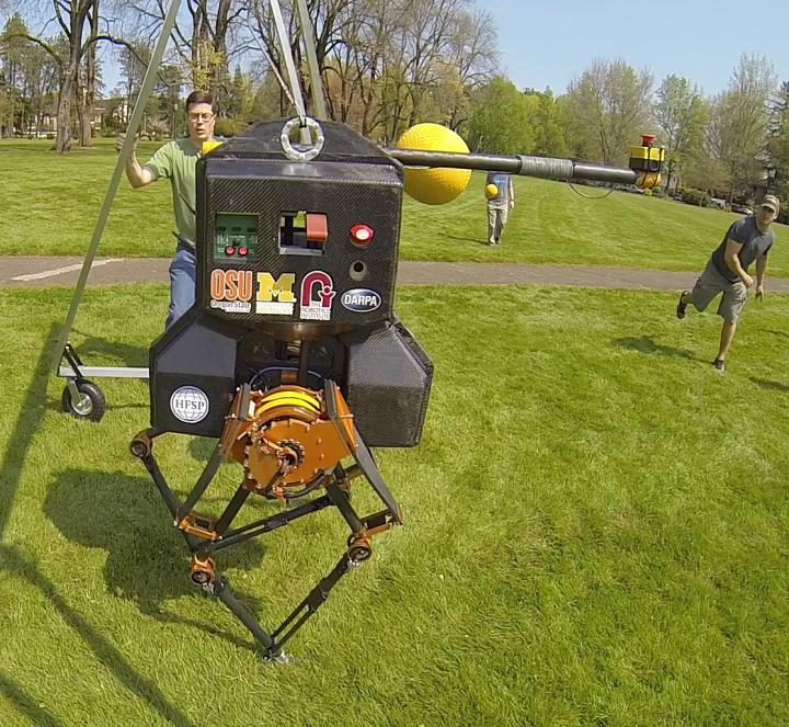 Engineers at Oregon State University have successfully field tested their walking robot, ATRIAS. Credit: (Photo courtesy of Oregon State University)