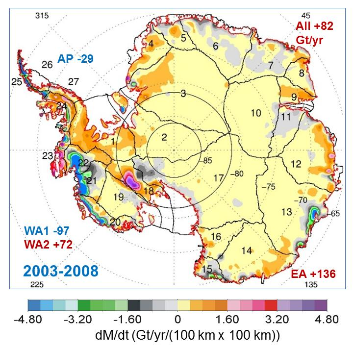 This map shows the rates of mass changes from ICESat 2003-2008 over Antarctica. Credit: Credits: Jay Zwally/ Journal of Glaciology