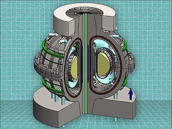Conceptual design of the ARC fusion reactor. About the same size as the currently operating JET tokamak in the United Kingdom, but with three times the magnetic field strength. Credit: Earl Marmar