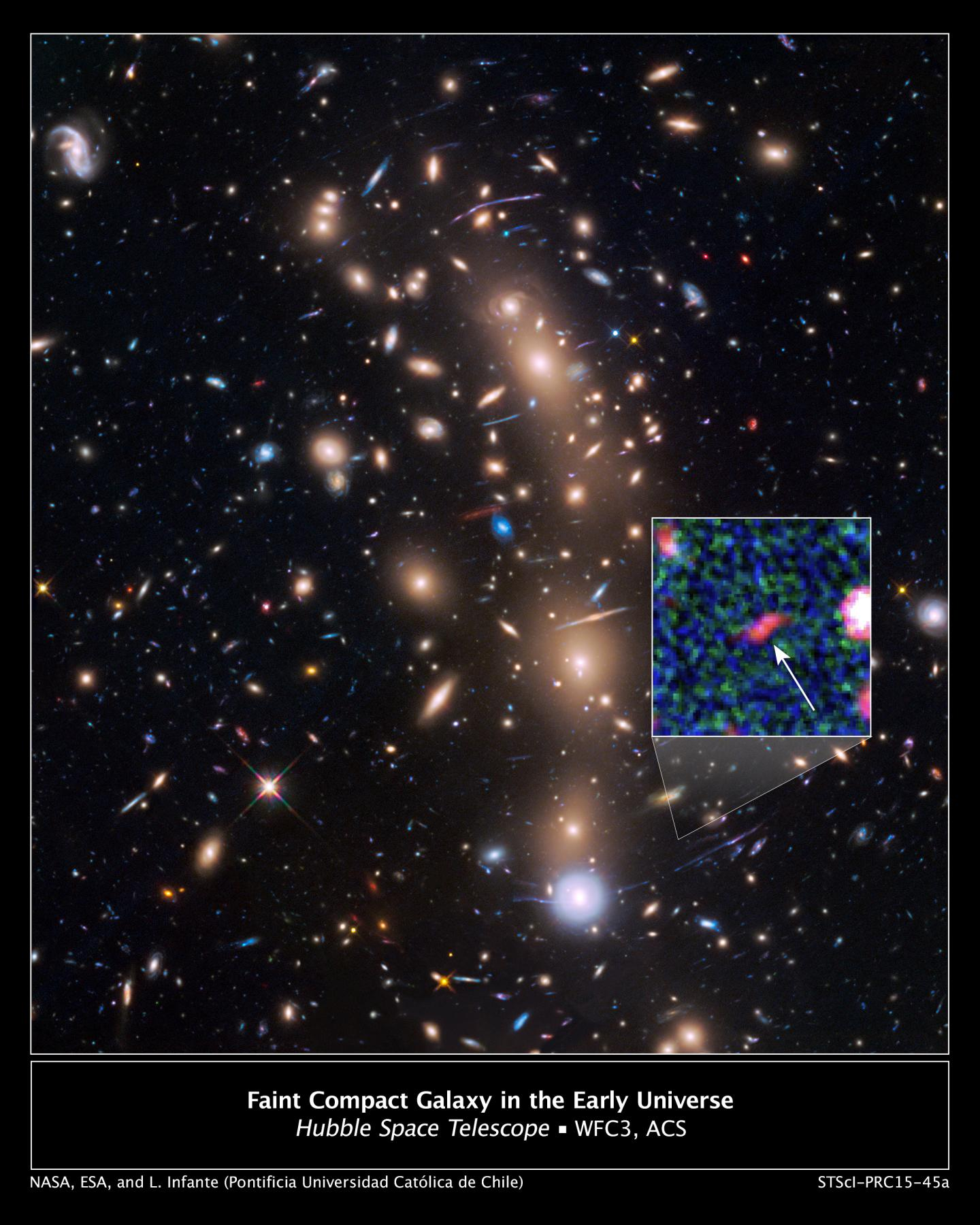 This is a Hubble Space Telescope view of a very massive cluster of galaxies, MACS J0416.1-2403, located roughly 4 billion light-years away. Credits: NASA, ESA, and L. Infante (Pontificia Universidad Catolica de Chile)
