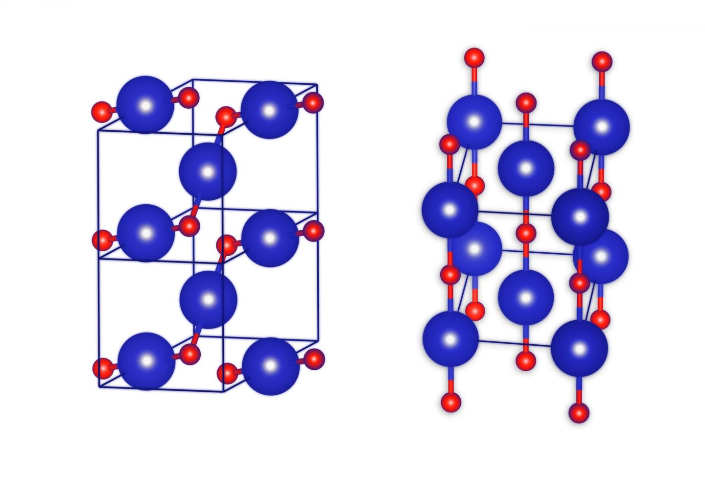 This image shows the crystal structures of krypton monoxide KrO: more stable on the left, less stable on the right. Krypton atoms coloured blue, oxygen atoms coloured red. Credit: IPC PAS