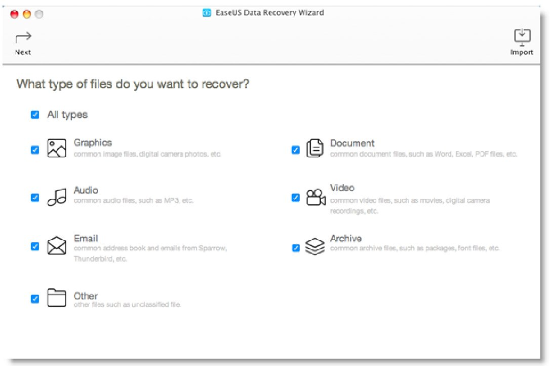 EaseUS Data Recovery Wizard filetypes