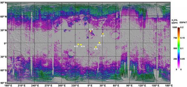 Map shows water 'nearly everywhere' in moon soil