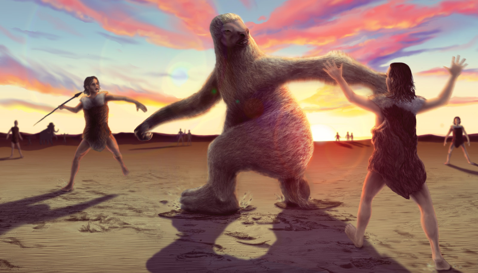 illustration of giant ground sloth and hunting humans